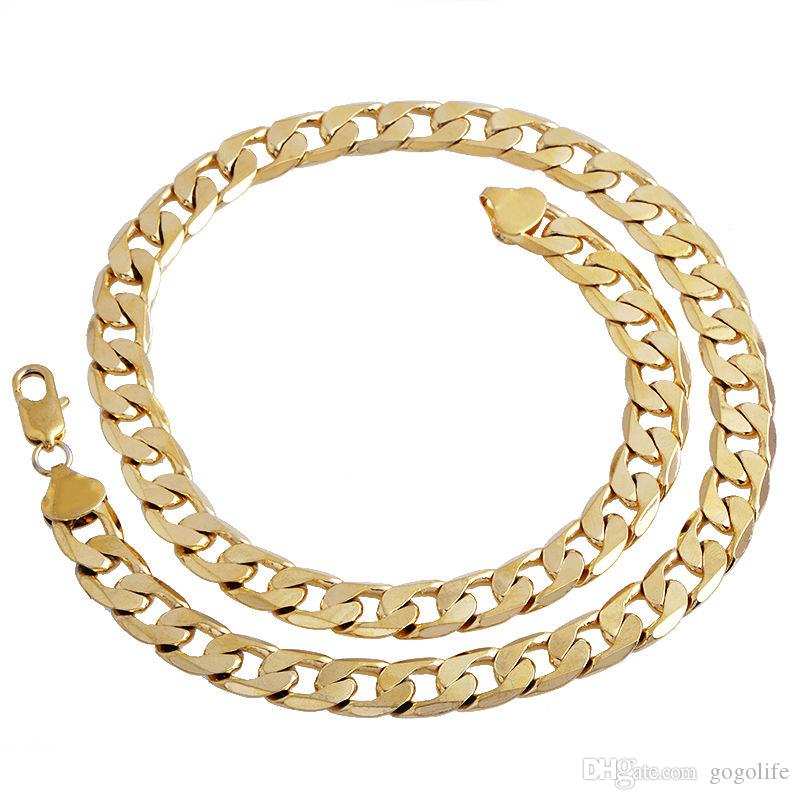 Nuevo Big 10MM Dia Yellow Solid Gold Filled Cuban Necklace Necklace Thick Mens Jewelry Womens Cool para papá novio regalo de cumpleaños