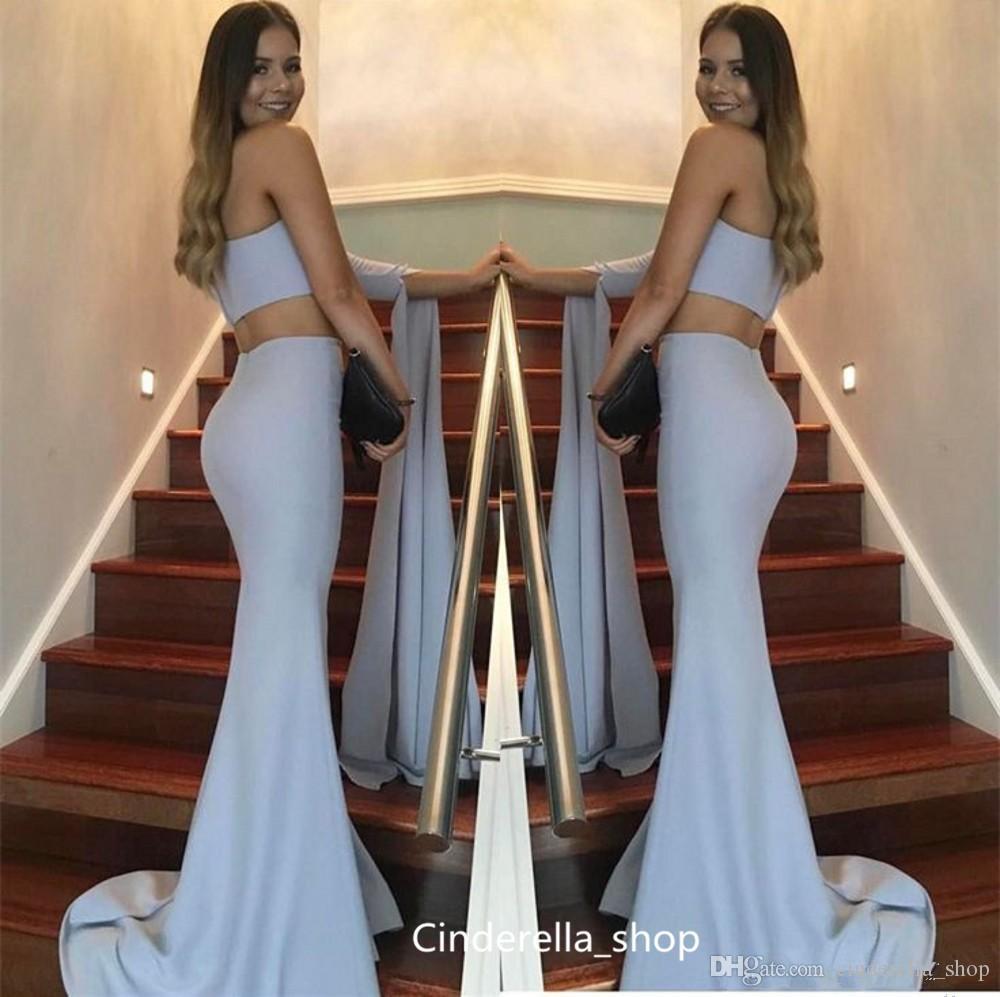 Vestidos de noche de sirena de dos piezas 2019 Un hombro Manga larga de tren Tren de barrido Vestidos largos de baile Vestidos de desfile formal árabe