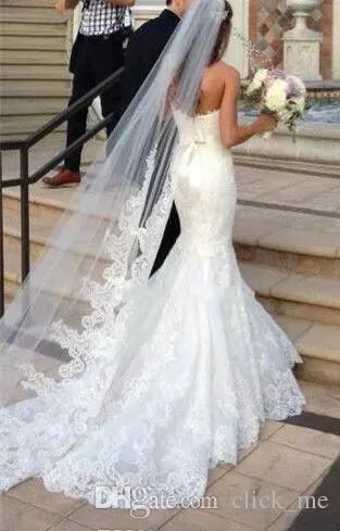 Prenses Düğün Veils Ucuz Uzun Dantel Gelin Veils Bir Katman Custom Made Dantel Aplike Kenar Gelin Peçe Ücretsiz Kargo