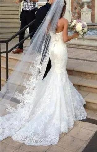 Velos nupciales de la princesa Velos de la boda Barato Velos de novia de una capa por encargo del Applique del cordón Velo de la novia del envío libre