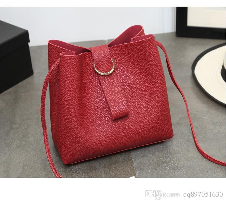 2016 White Women Plain Drawstring Pink Black 2017 New Korean Bag Package of Large Capacity Simple All-match Bucket Trend Portable Xiekua