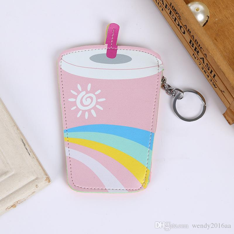 Mini Cute Coin Purses Cartoon Key Ring Wallets Accessories Love ice cream cups Smiling face sippy cups Shape Zipper Preppy Bag