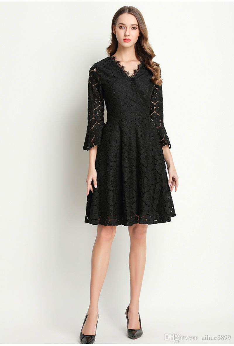 Women Sexy With Lace Dresses 2016 Ladies Party Plain Cap Sleeve V Neck Lace A Line Pleated Black Party Dress