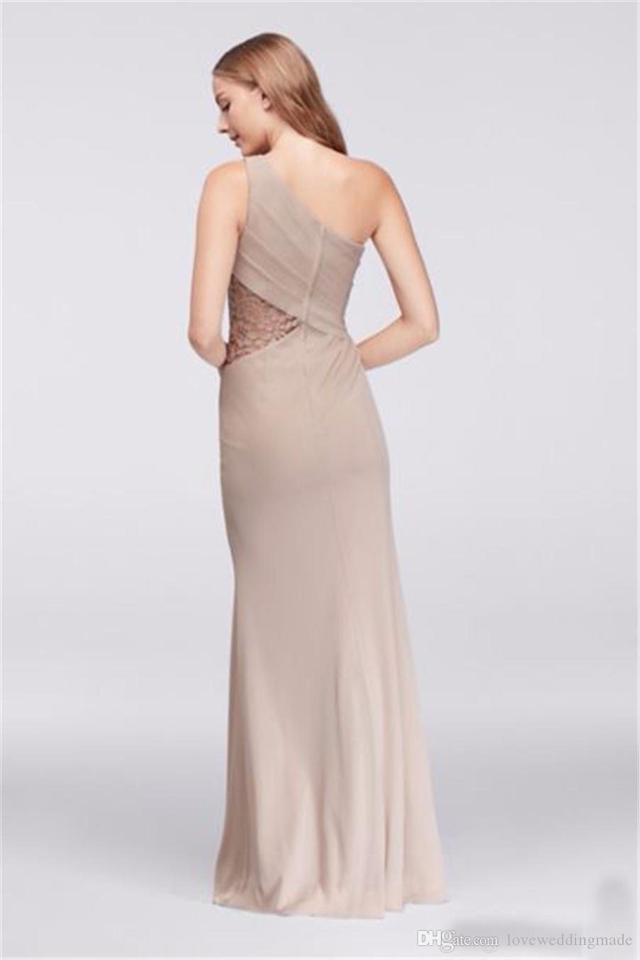Elegant One Shoulder Chiffon Long Bridesmaid Dresses 2019 NEW Formal Evening Party Gown Lace Inset Side Split Wedding Guest Dress