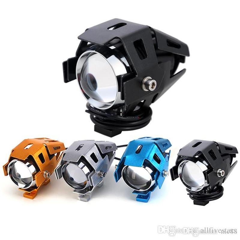 .Motorcycle Headlight Lamp 125W Motorbike 3000LMW Upper Low Beam & Flash CREE U5 LED Driving Fog Spot Light Head