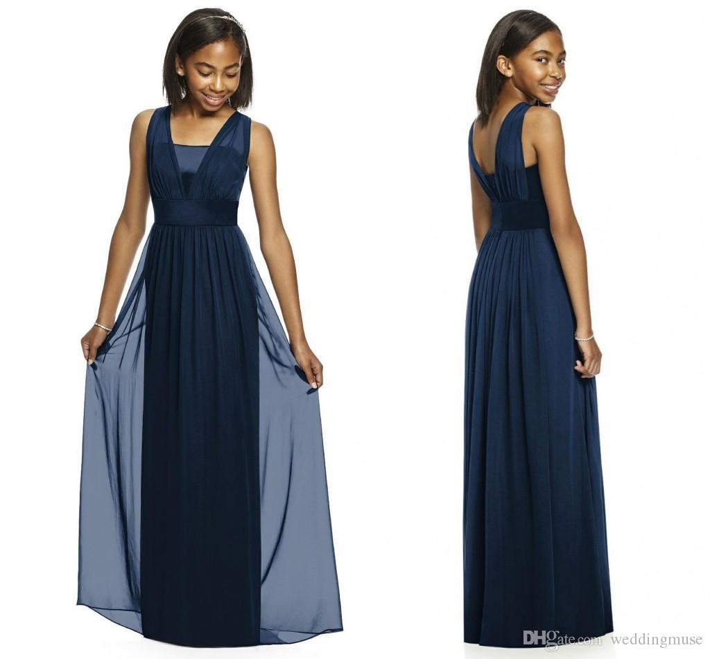 2018 Navy Junior Bridesmaid Dresses Sleeveless A Line Floor Length ...