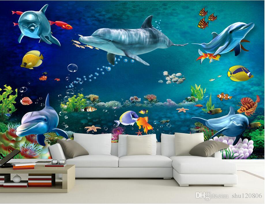 3d wallpaper custom photo mural sea world dolphin fish for Custom mural wallpaper