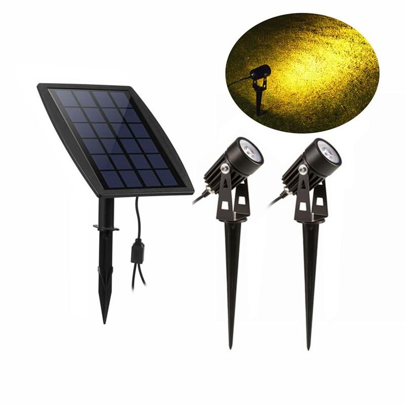 New Solar Powered LED Spotlight Adjustable Double Head Spotlights Wall Light Garden Lamp Auto On/Off Wall Sconces Security Light Patio Light
