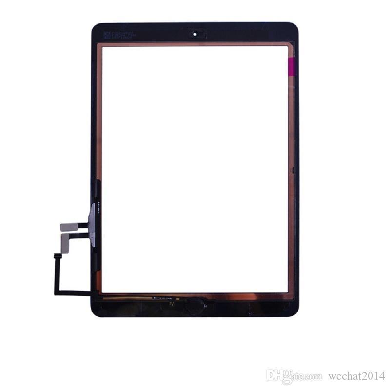 Alta qualidade da tela de toque digitador do painel de vidro com botões de montagem adesiva para ipad air free dhl