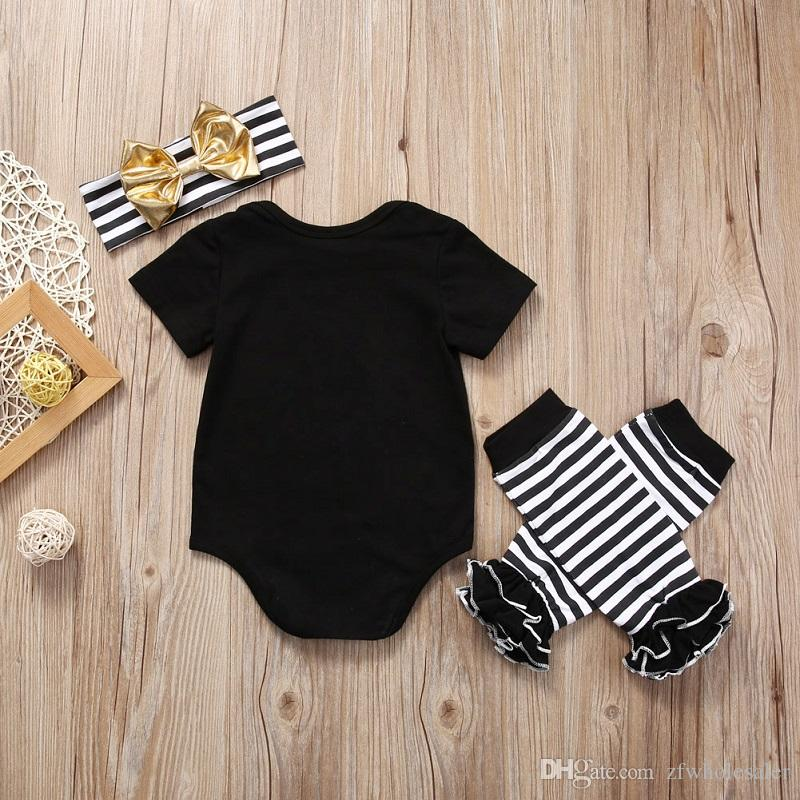 Newborn Baby Christmas Outfit Pajamas Tops Romper Leg Warmer Headband Outfit Set Boutique Girl Boys Clothes Toddler Clothing Kids Onesi