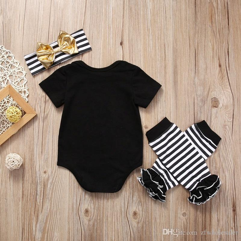 Nouveau-né Bébé De Noël Tenue Pyjamas Tops Romper Jambe Warmer Bandeau Ensemble Ensemble Boutique Fille Garçons Vêtements Toddler Vêtements Enfants Onesi