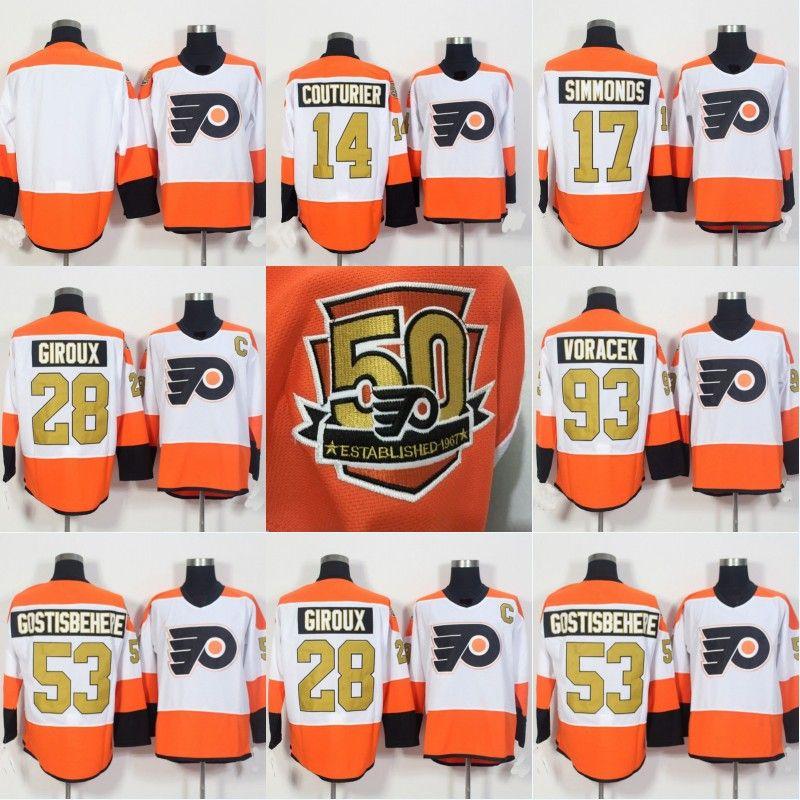 2019 Philadelphia Flyers Jerseys 50th Anniversary 14 Sean Couturier 17  Wayne Simmonds 28 Claude Giroux 53 Shayne Gostisbehere 93 Jakub Voracek From  ... abb74f706