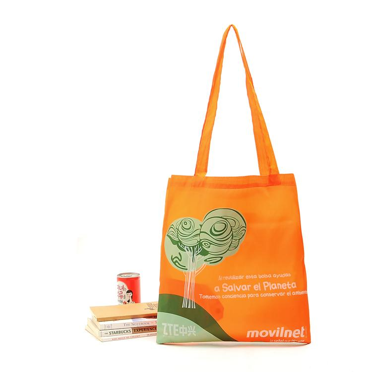 Wholesale- Custom Reusable Bags Nylon Orange Grocery Totes Promotional Shopping Bags