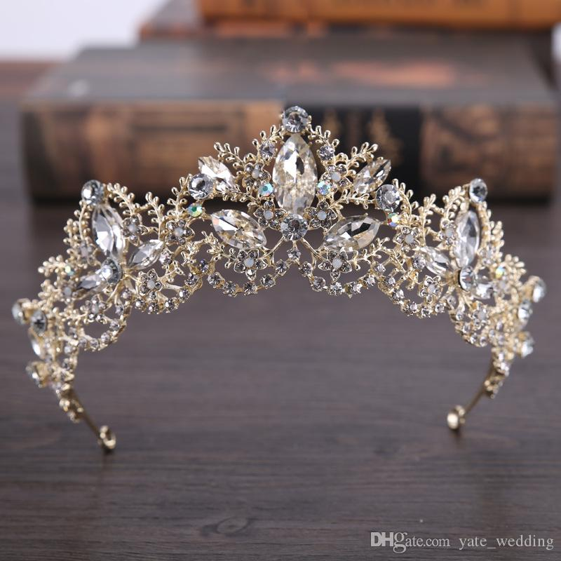Light Gold Crystal Bridal Tiara Swarovski Rhinestone Wedding Crown di lusso Wedding Tiara Zuccheria da sposa Accessori capelli