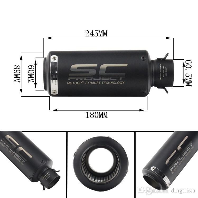 TKOSM Laser SC Marke Neue Motorrad Auspuffrohr Roller Modifiziert 51 MM 60 MM SC auspuff Schalldämpfer rohr Für KAWASAKI ER6N BMW S1000RR