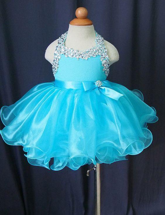 Toddler Pageant Dresses Ball Gown Organza Halter Light Sky Blue Puffy Style Cheap Little Glitz Flower Girl Dress
