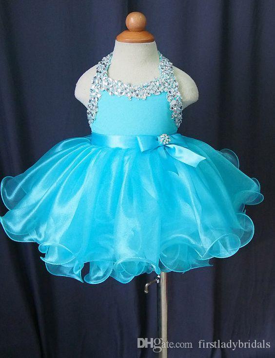 Vestidos del desfile del niño Vestido de fiesta Organza halter Light Sky Blue Puffy Style Vestido de la niña pequeña Flower Glitz barato