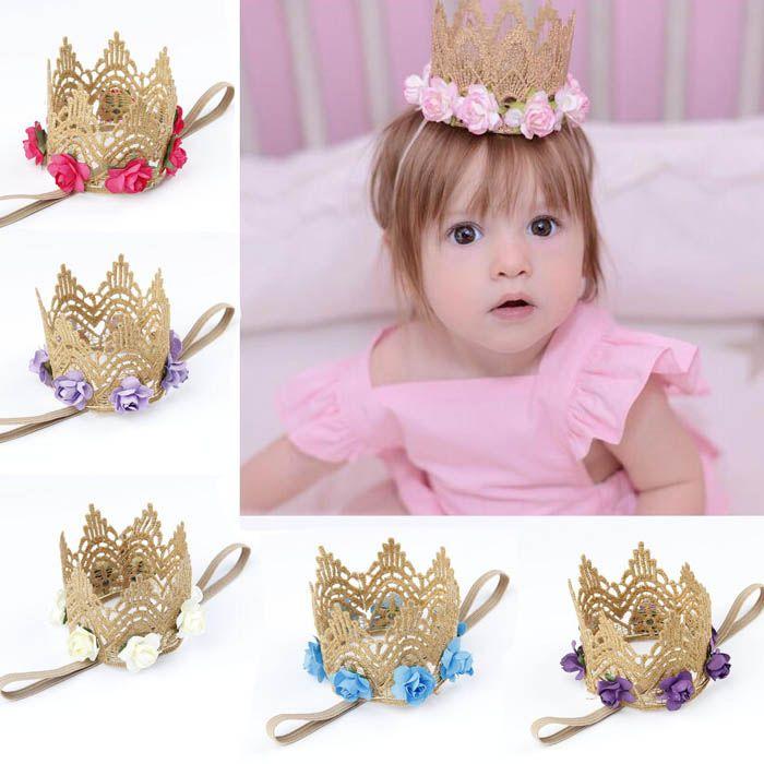 7b8fef7af9b Toddler Flower Crown Tiaras Baby Crown Headbands Newborn Photo Props Girls  Infant Birthday Hair Accessories Childrens Wedding Hair Accessories Prom  Hair ...