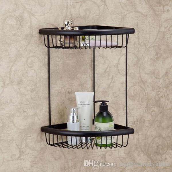 2018 Double Tier Brushed Nickel Wall Mounted Bathroom Shelf Antique ...