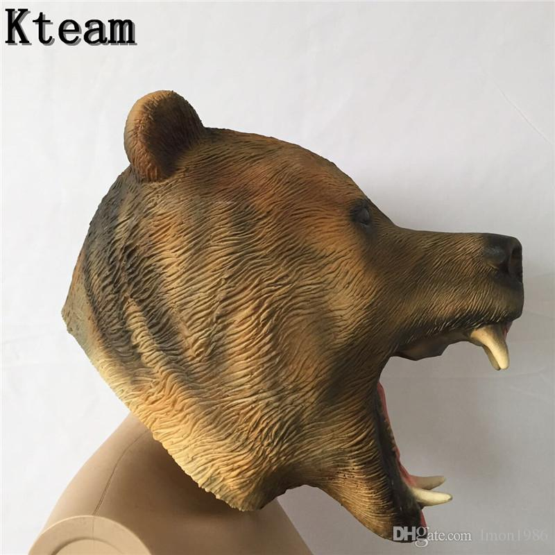 Spedizione gratuita Spaventoso Killer Teddy Bear Mask Adulto Evil Psycho Costume di Halloween Fancy Dress Maschera di lattice Testa piena Testa di animale maschera orso cane
