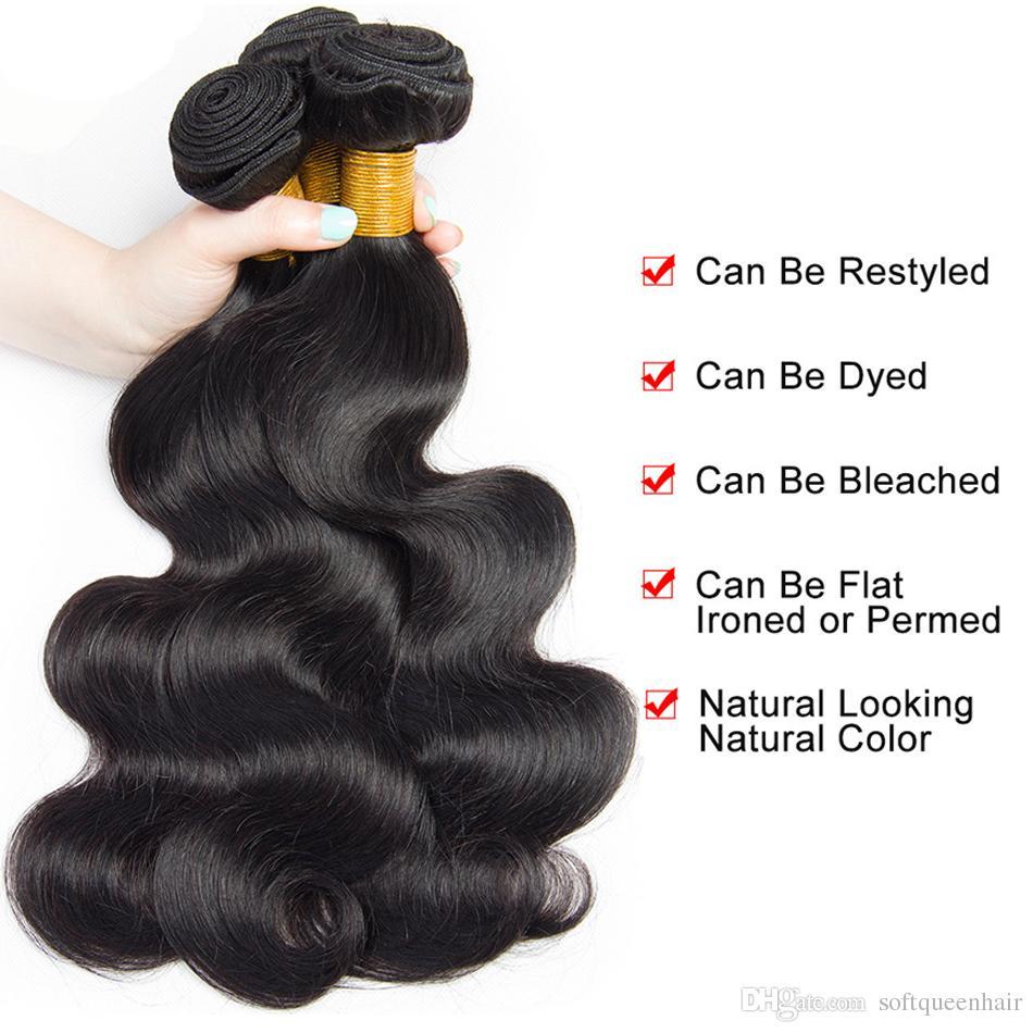 8A бразильские девственные волосы с закрытием 3 пучки бразильский объемная волна с закрытием кружева 4x4 необработанные Реми человеческих волос ткать расширения