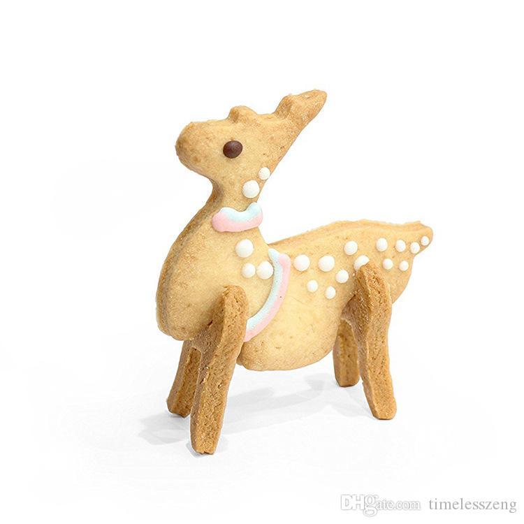 8 pezzi / set fai da te strumento di cottura di Natale in acciaio inox 3D solido biscotto combinazione stampo scenario natale decorazione