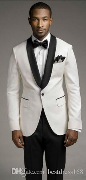 Top Sales New White Coat And Black Satin Lapels The Groom'S Best ...
