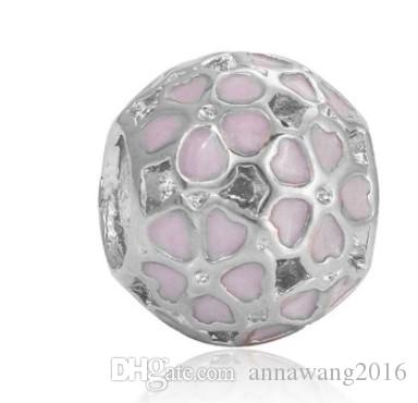 Wholesale Cherry Blossom Beads Charm Fit Sterling Silver European Charms Bead Bracelet Fit Snake Chain Pandora Bracelet Women DIY Jewelry