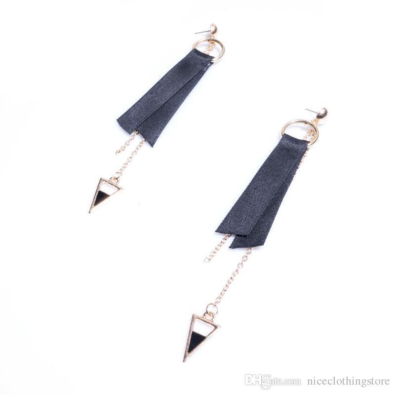Triângulo Rodada artesanal Triângulo Geométrica Brincos Do Laço Preto Longo Borla Brincos de Design Gótico Brinco Para As Mulheres