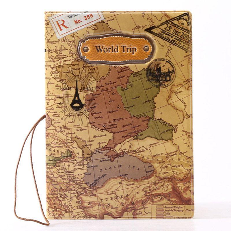 100 pz 2017 Nuovo arrivo Mappa del mondo di viaggio Porta passaporto in PVC Porta passaporto Portafogli Porta passaporto Custodia ID titolare