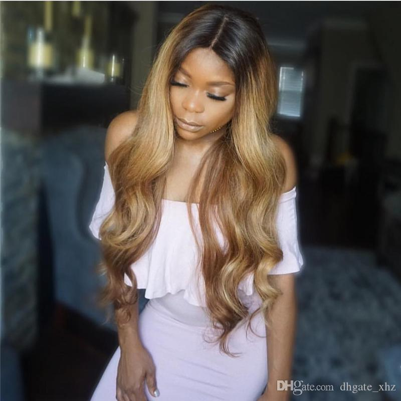 brazilian Ombre Full Lace 1B/27 Wigs 130-180 Density Body Wave Long hair lace front Wig With Bleached Knots free part hair