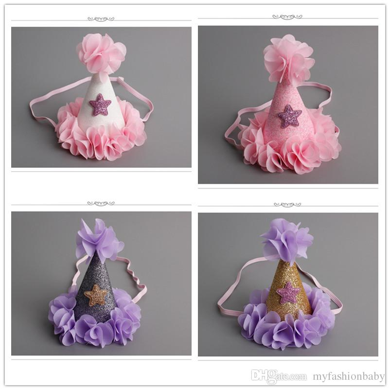 Handmade Infant Newborn Felt Glitter Crown Flower Headband Star Baby Girls Birthday Party DIY Hat Shape Hair Accessory