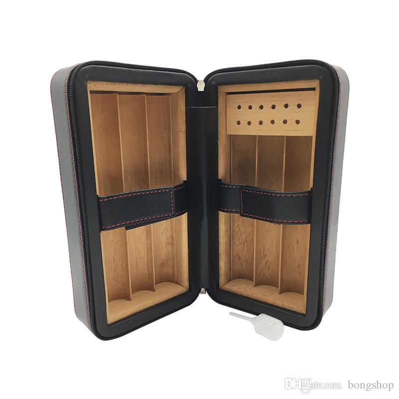 Couro Cohiba Preto Cedar Madeira Forrado Portátil Charuto Caso Viagem Humidor tem 6 Contagem em todos os charutos tamanho Embalado em Caixa Branca da caixa