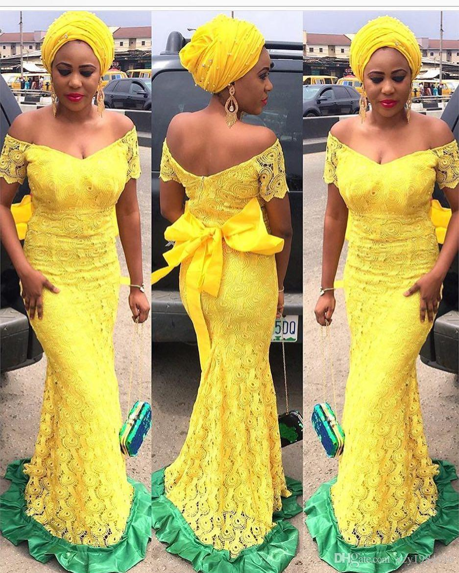 Sun Yellow Lace Prom Dresses Off Shoulder Short Sleeves Zipper Back Sash Evening Party Gown Elegant Floor Length Mermaid Evening Dresses