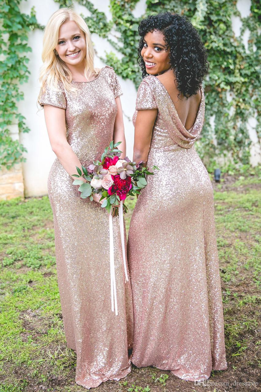Sparkly bling rose gold sequin bridesmaid dresses 2018 new cheap sparkly bling rose gold sequin bridesmaid dresses 2018 new cheap capped sleeves backless country beach bridesmaids prom party dresses ebony rose bridesmaid ombrellifo Image collections