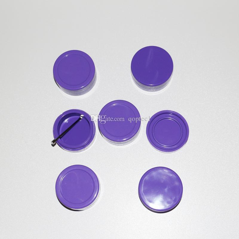 Stocked purple color FDA grade round silicone essential oil jars 22ml food grade butane hash non stick silicone dab wax container