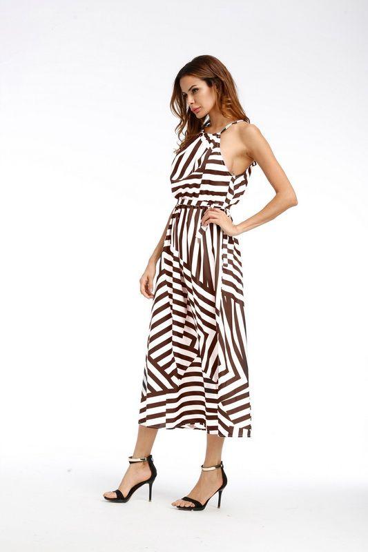 Femmes sexy robe d'été Boho Maxi longues robe de soirée rayée sans manches robe de plage robe femmes d'été DK0542BK