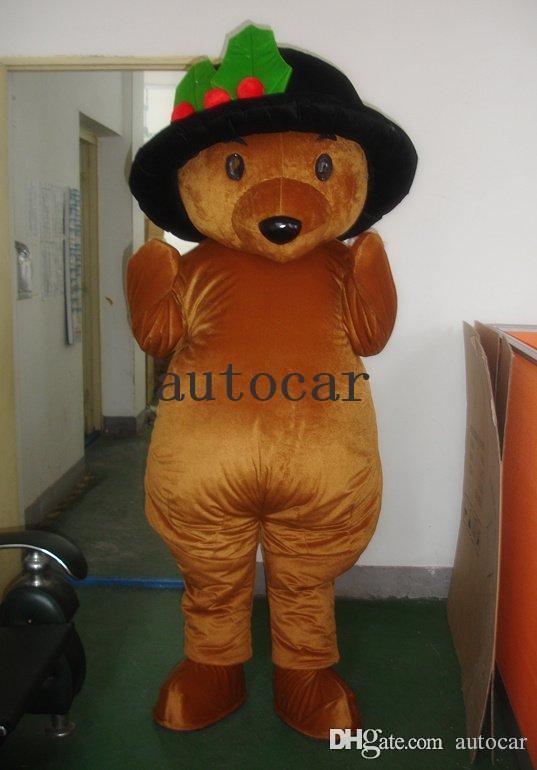 Urso de pelúcia chapéu preto marrom Personagem Dos Desenhos Animados Traje mascote Custom Products custom-made frete grátis