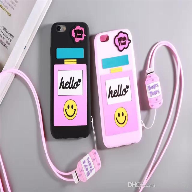 free shipping a8d35 d4da2 For Iphone 6s Cases Luxury Soft Perfume Bottle Shape Cute Pink Black With  Strings Silicone Universal Phone Cases For Iphone 7 6 Plus