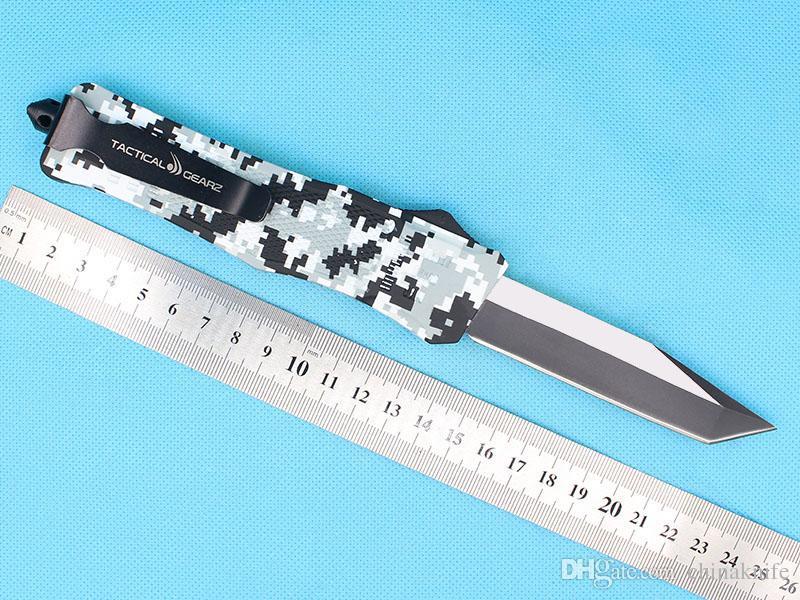 Promotion Large Size 616 Winter Digi Auto Tactial Knife 440C 58HRC Single Edge Tanto Titanium Blade Outdoor Survival Tactical Gearz