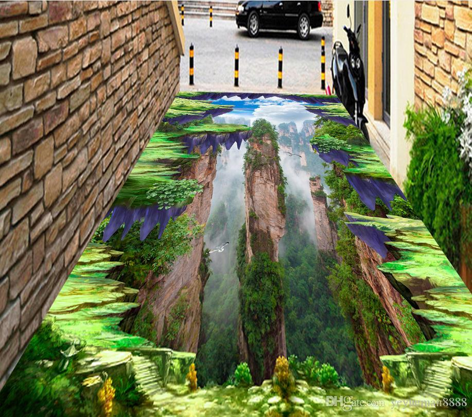 vinyl flooring mural Custom 3d floor tiles Sea cliff wall papers home decor 3d floor wallpapers for living room