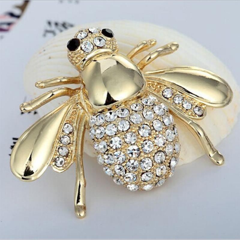 fashion brooch pin accessories fashion Retro badge bee Inlay Drill animal alloy brooch flower lapel pin Emblem alloy men and women wedding