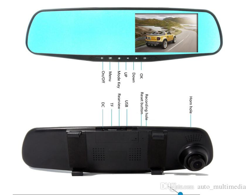 4.3 inch dual lens car camera rearview mirror full hd 1080p waterpropf night vision auto dvrs cars dvr parking video recorder
