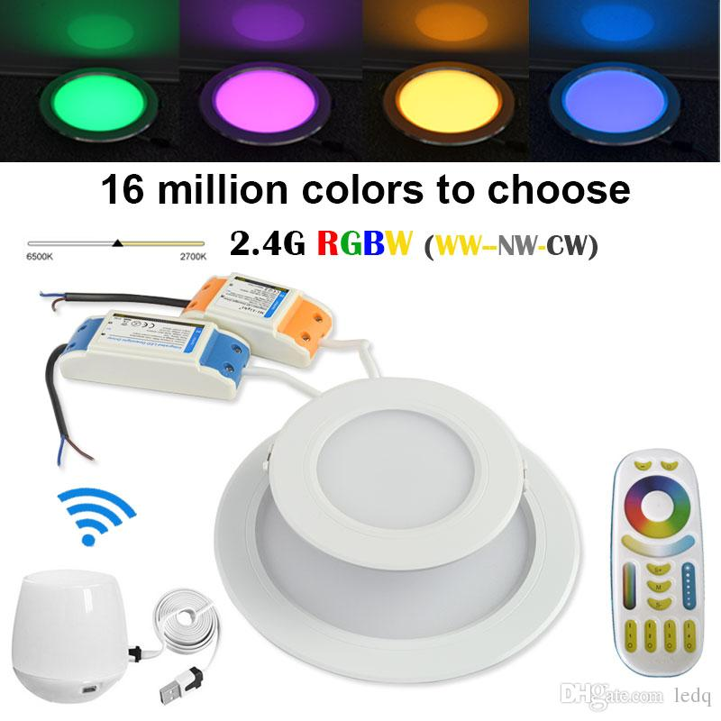 LED Downlight RGB + CCT Color Dimmable 2700K~6500K Mi Light WIFI 2.4G Bulb Wireless Group Remote Control Smartphone App Controll Lamp CE