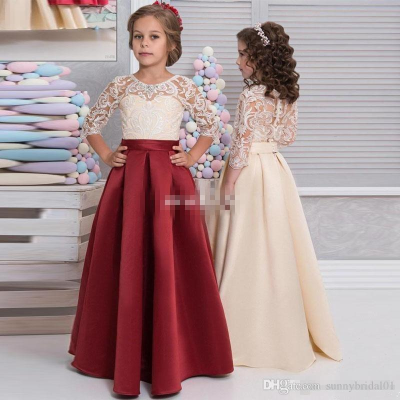 Floor Length Lace Satin Flower Girls Dresses 3/4 Long Sleeves Red Champagne Fall Girls Pageant Dresses Children Christmas Party Dresses 2017