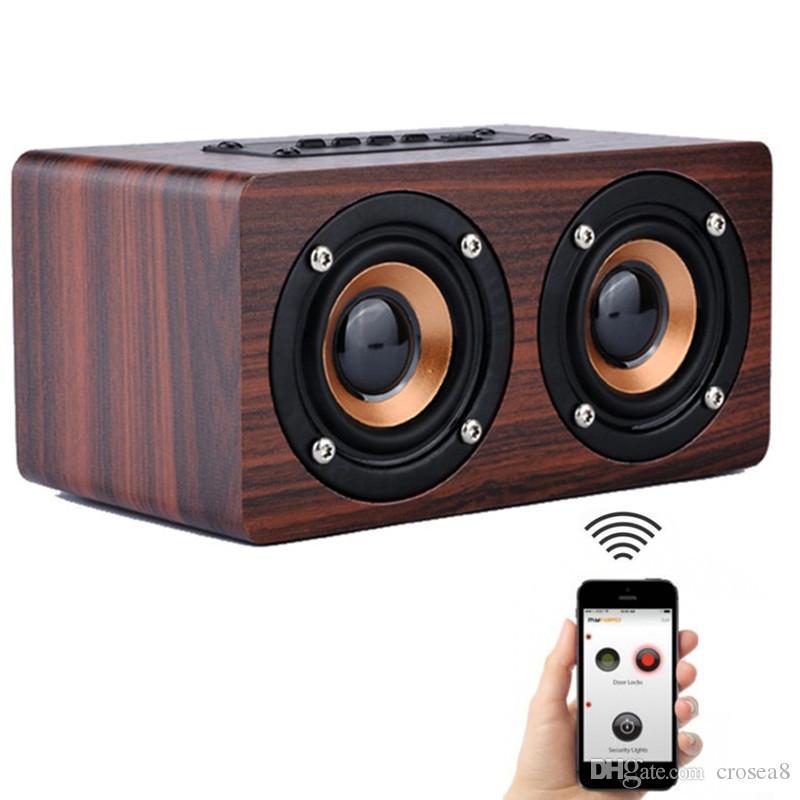 Новые W5 Wood Boombox Wooden Box беспроводная связь Bluetooth динамик 10 Вт высокой мощности сабвуфер 2000 мАч аккумулятор поддержка TF Card AUX кабель с коробкой