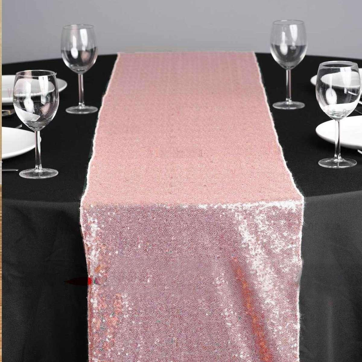 Wholesale 30x180cm Sparkly Sequin Table Runner Pink Table Roll Cloth ...