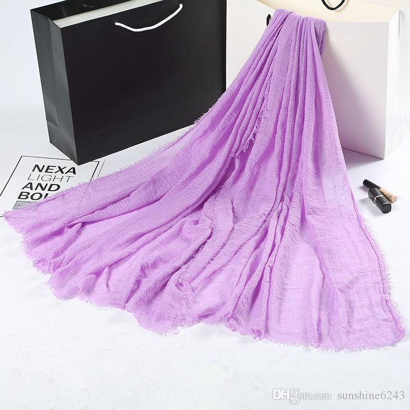 Women Hijabs Shawls Oversize Islamic Head Wraps Soft Long Muslim Frayed Crepe Premium Cotton Plain Hijab Scarf 90*200cm