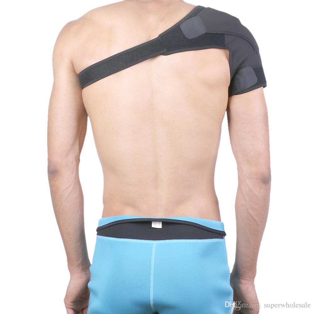 Bandoulière de soutien d'épaule sportive réglable en néoprène élastique pour la prévention et la récupération, noir