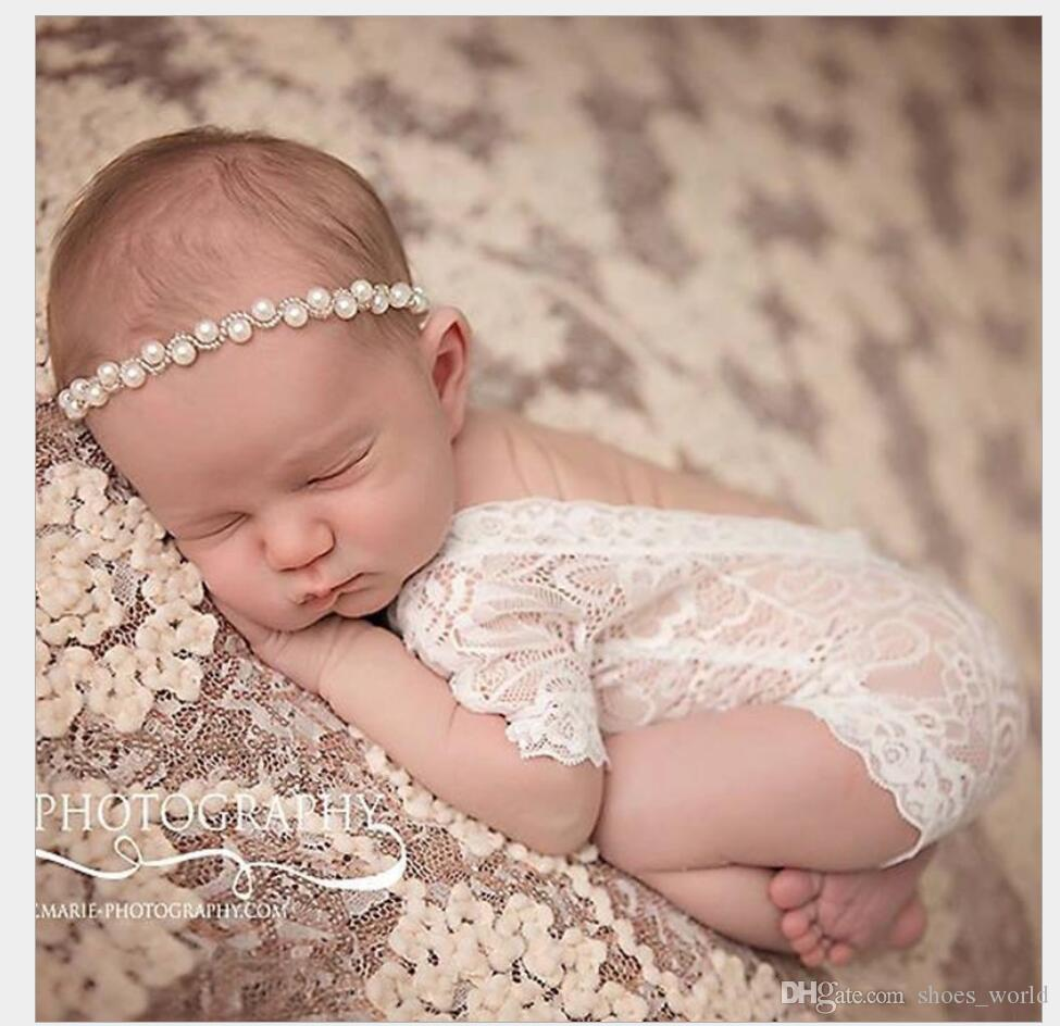 2019 cute 2017 new soft newborn baby photography props baby romper fashion lace infant baby playsuit white and black clothes romper from shoes world
